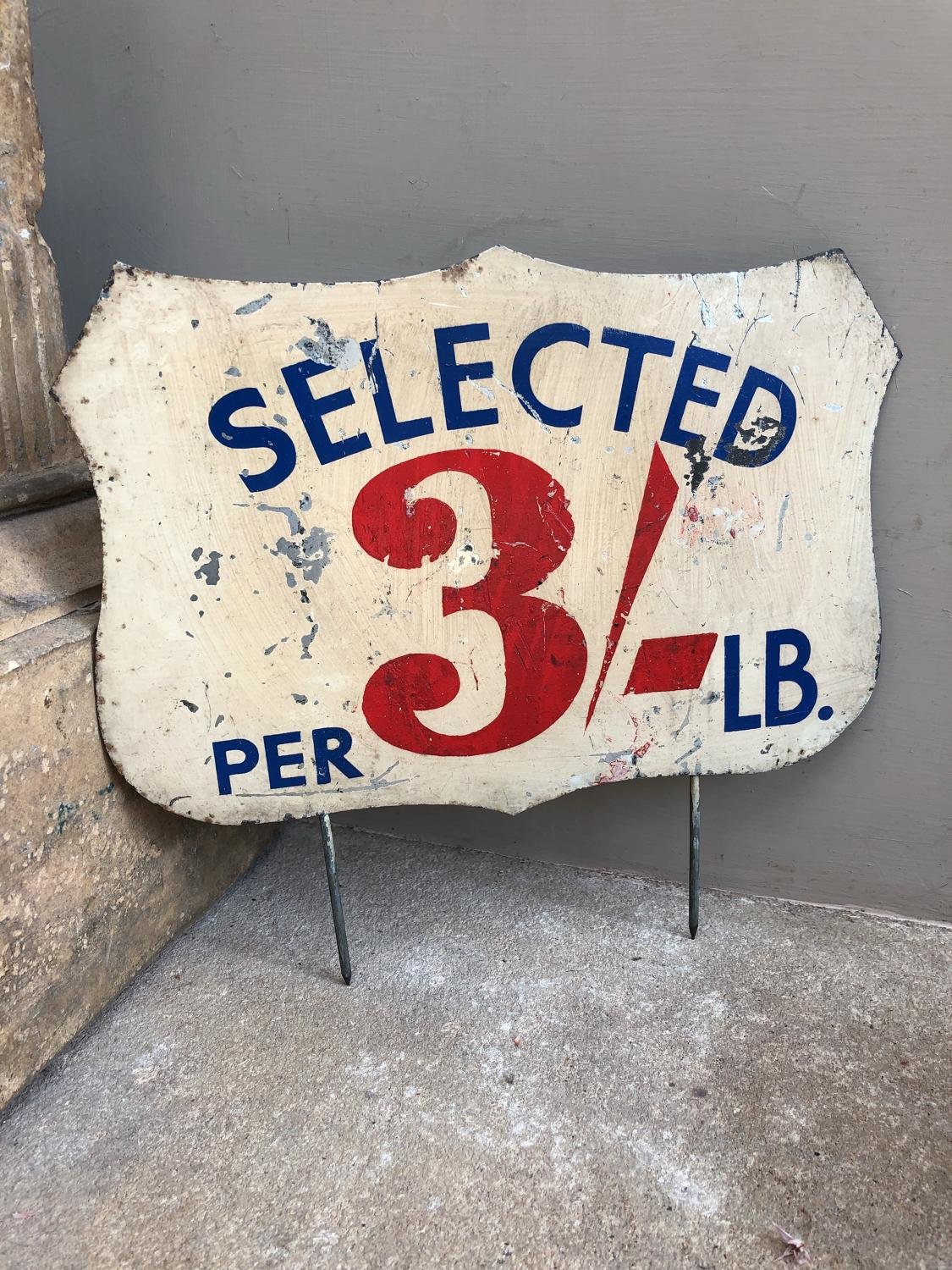 Huge Early 20thC Grocers Painted Tin Sign - Selected 3' - Per LB