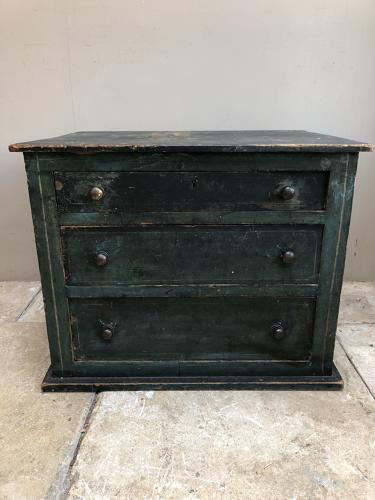 Antique Low Pine Chest of Three Drawers in Original Paint