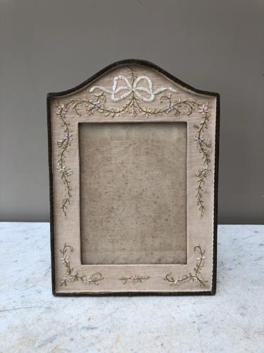 Large Edwardian Embroidered Silk Photograph Frame - 9
