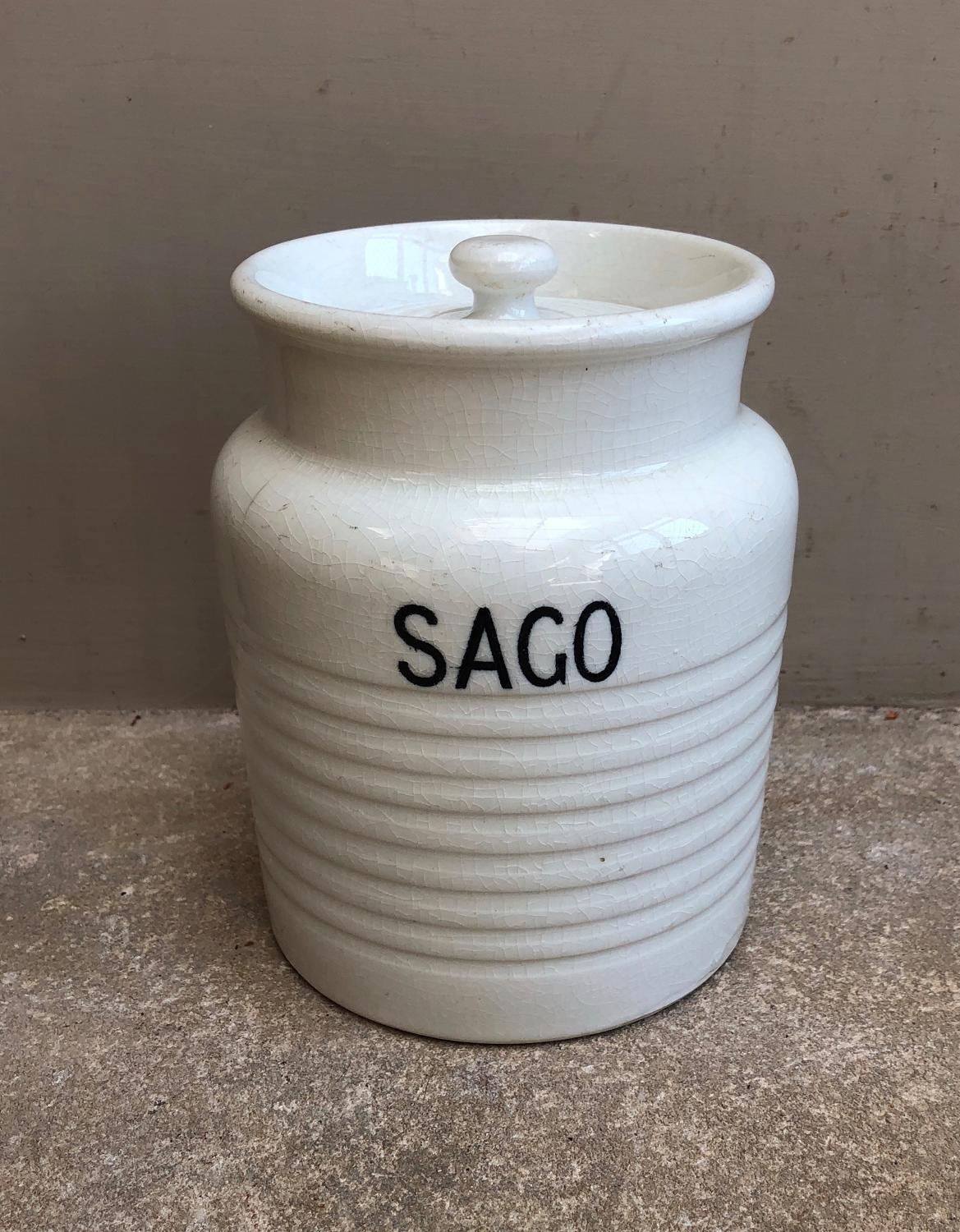 Edwardian White Banded Kitchen Storage Jar - Sago