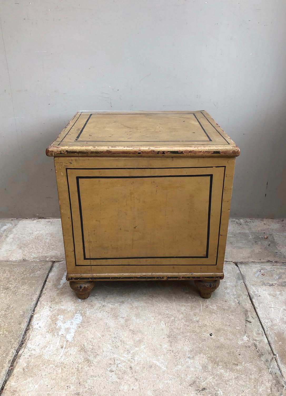 Victorian Pine Box Raised on Bun Feet in its Fantastic Original Paint