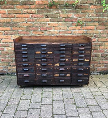 Late Victorian Pine Bank of 36 Graduating Printers Drawers - Sideboard