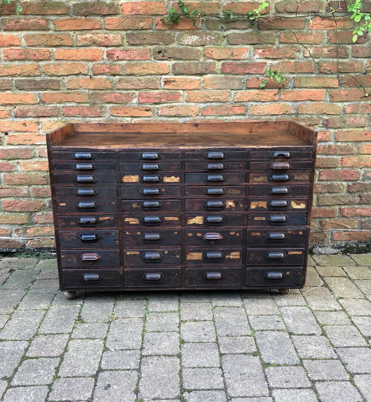 Late Victorian Pine Bank of 36 Graduating Printers Drawers - Sideboard