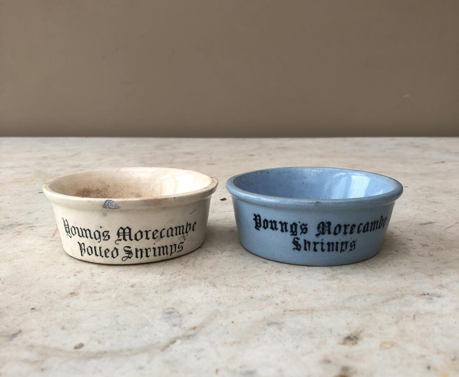Youngs Morecambe Rarer Blue Shrimp Pot & White Potted Shrimp Pot