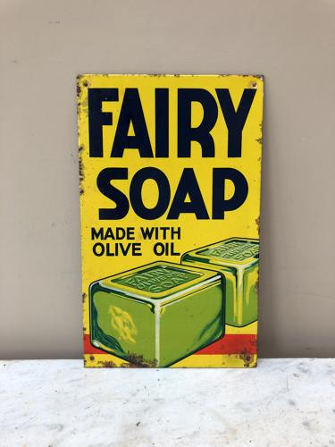 1940/50s Small Tin Advertising Sign - Fairy Soap