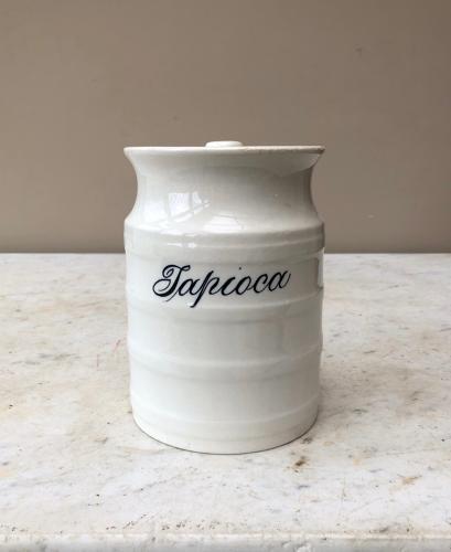 Victorian White Banded Kitchen Storage Jar - Tapioca