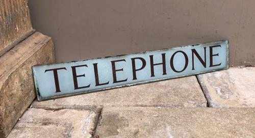 Antique Glass Original Telephone Box Sign