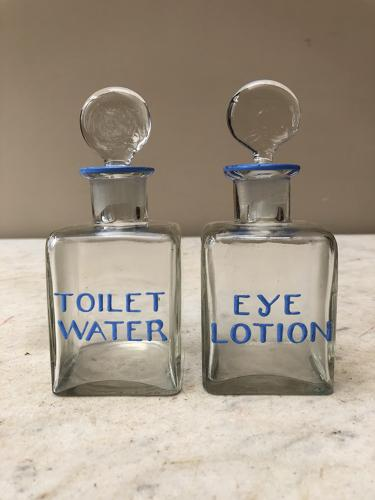 Pair of 1930s Enamelled Glass Vanity Bottles