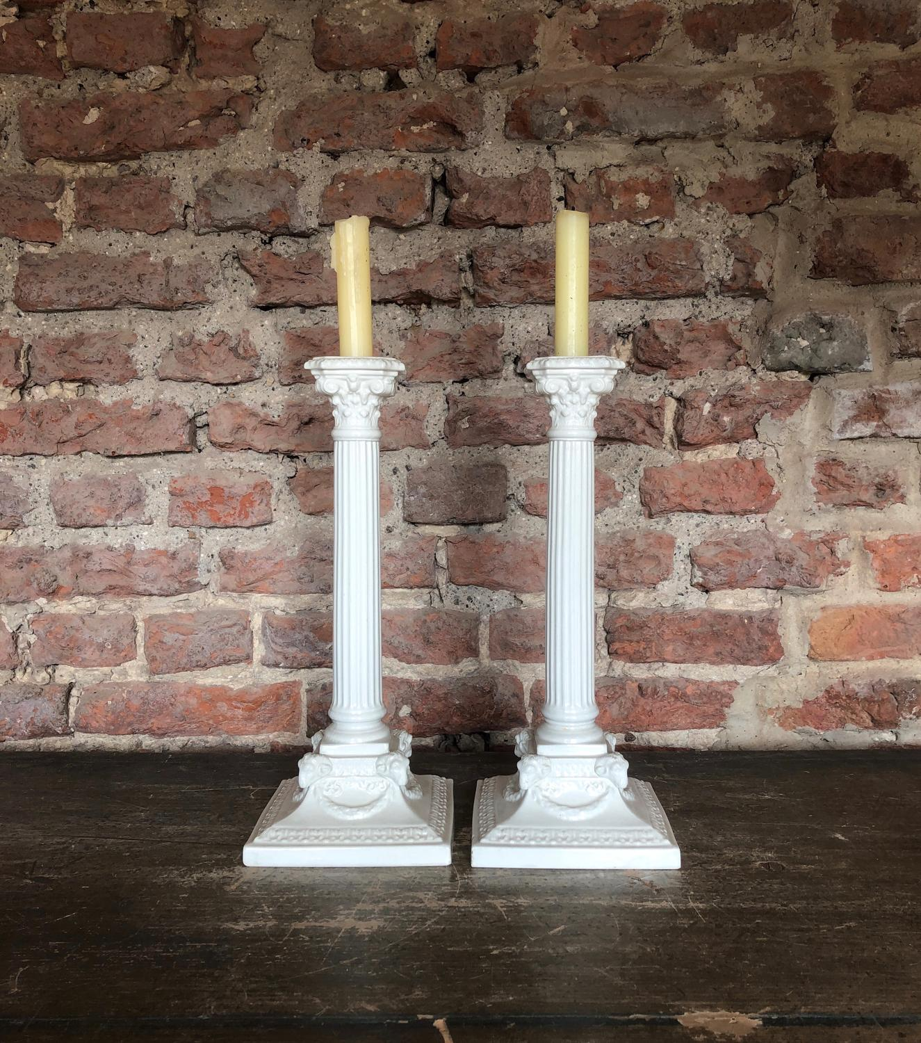 Large Pair of Antique White Column Candlesticks.