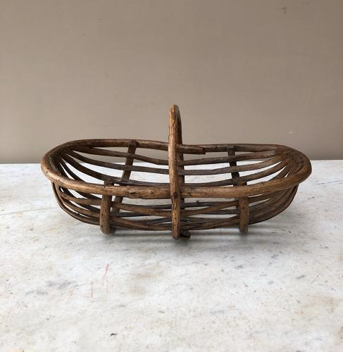 Early 20th Century Wooden Slatted Basket Trug