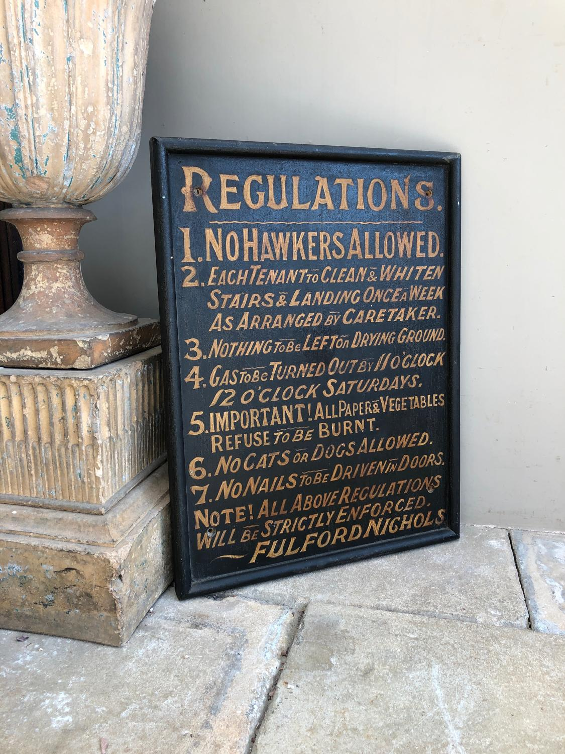 Victorian Painted Pine Sign - Tenants Regulations