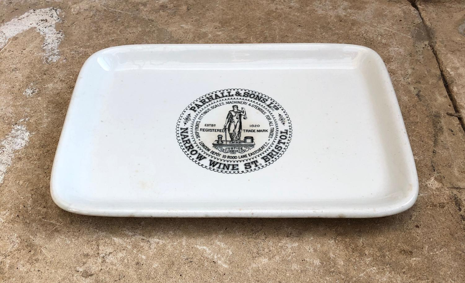 Edwardian Parnall & Sons White Ironstone Butchers Plate Central Logo
