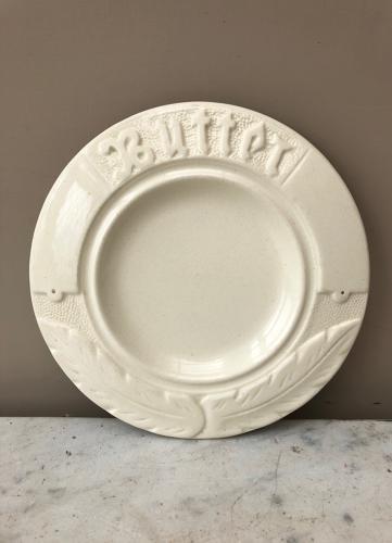 Rare Edwardian Plain Ironstone Butter Dish