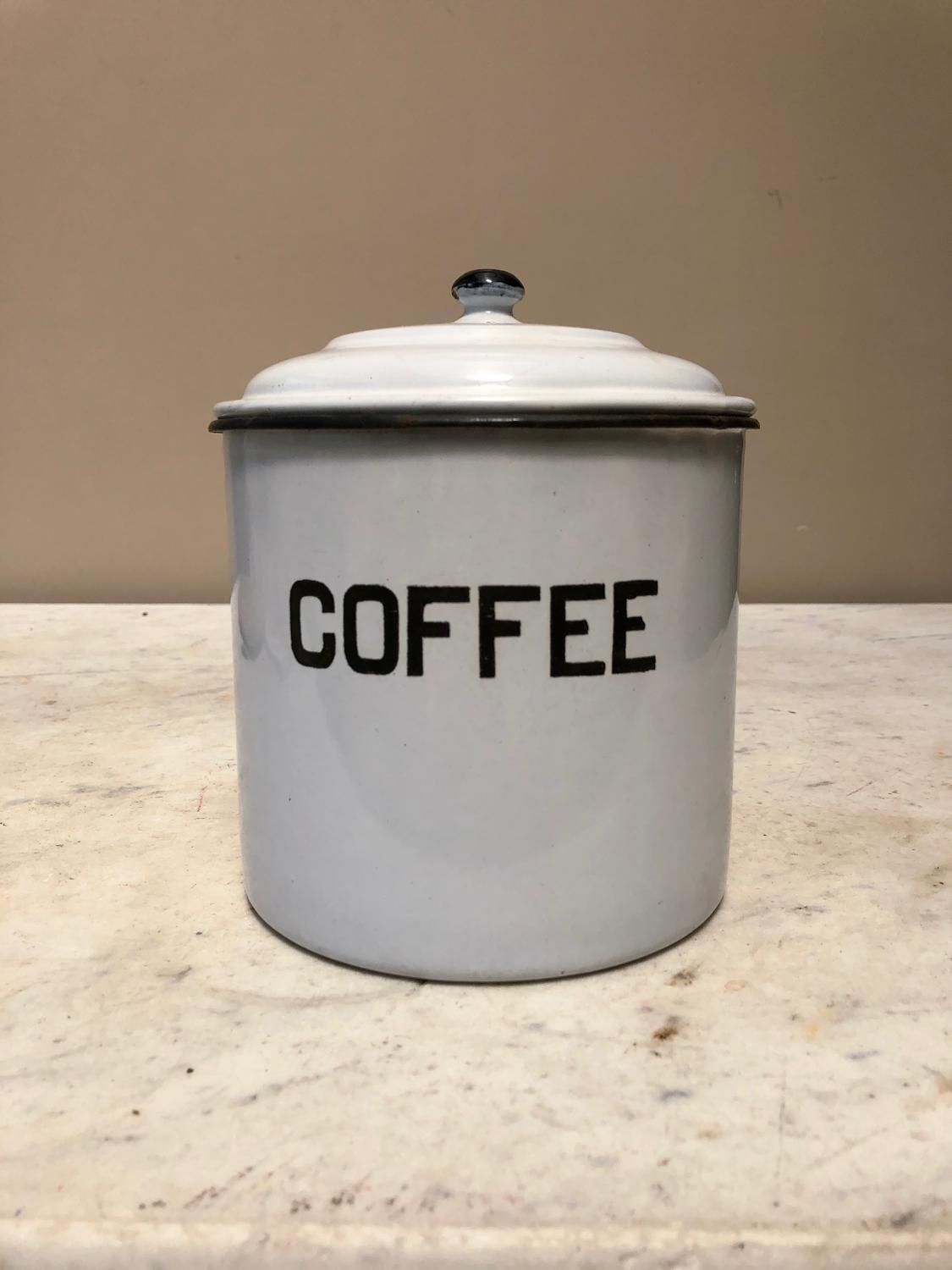 Early 20thC White Enamel Coffee Tin