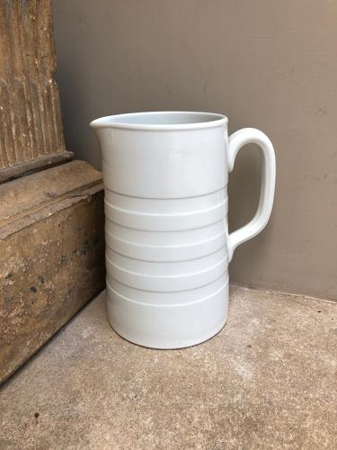 Edwardian Tall White Banded Dairy Cream Jug
