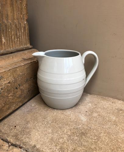 Late Victorian White Banded Barrel Dairy Milk Jug