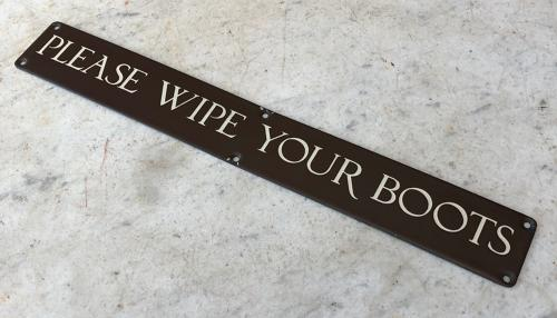 Early 20thC Enamel Sign - Please Wipe Your Boots