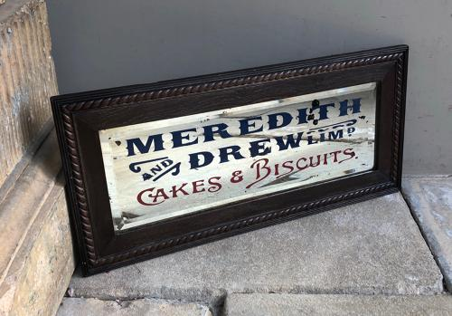 Rare 1920s Shops Advertising Mirror in Original Frame - Meredith & Dre