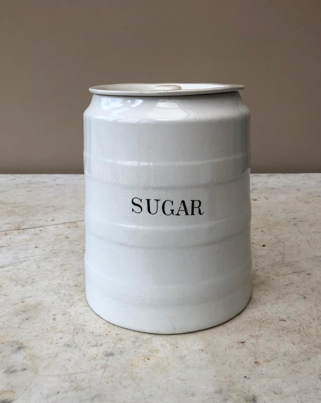Large Edwardian White Banded Kitchen Storage Jar. 6lb. - Sugar