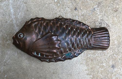 Mid Century Tin Lined Good Size Copper Fish Mould