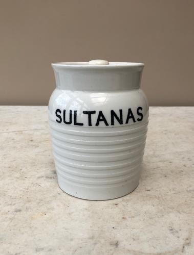 Edwardian White Banded Kitchen Storage Jar - Sultanas
