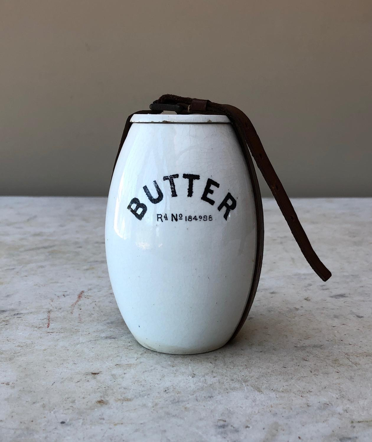 Edwardian Butter Pot with Lid & Original Leather Strap