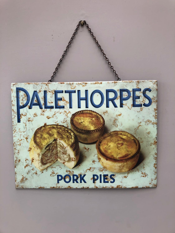 1920s Super Rare Shops Tins Advertising Sign - Palethorpes Pork Pies