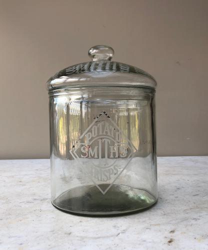 Early 20thC Shops Glass Advertising Jar - Smiths Crisps
