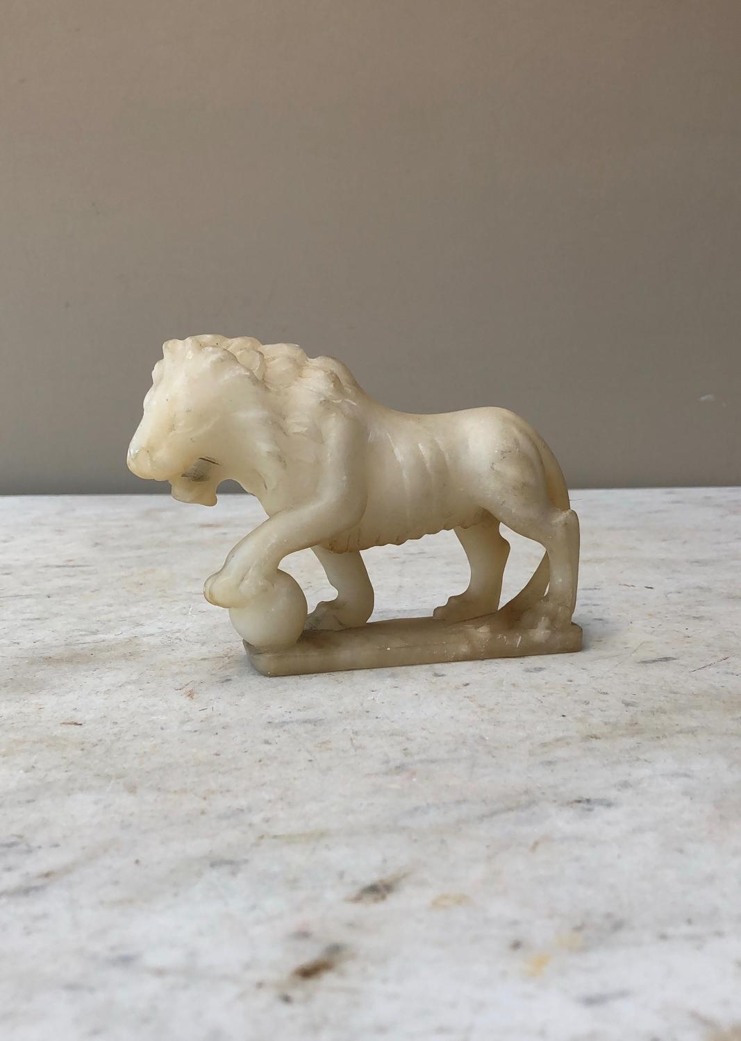 Victorian Carved Alabaster Lion - Great Paperweight