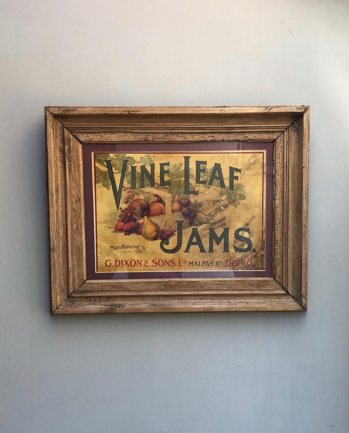 Large Edwardian Shops Advert - Vine Leaf Jams