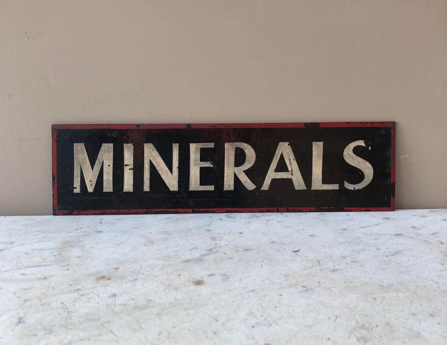 Early 20th Century Shops Hand Painted Sign - Minerals