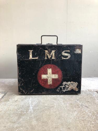 1930s London Midlands & Scottish Railways First Aid Case - Orig Paint