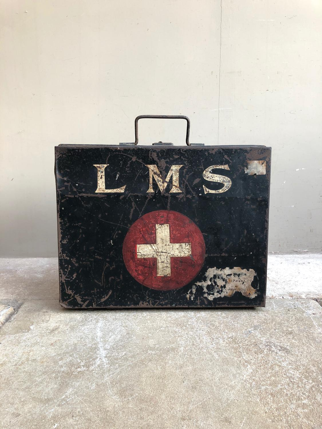 1930s London Midlands & Scottish Railways First Aid Case - Orig Paint