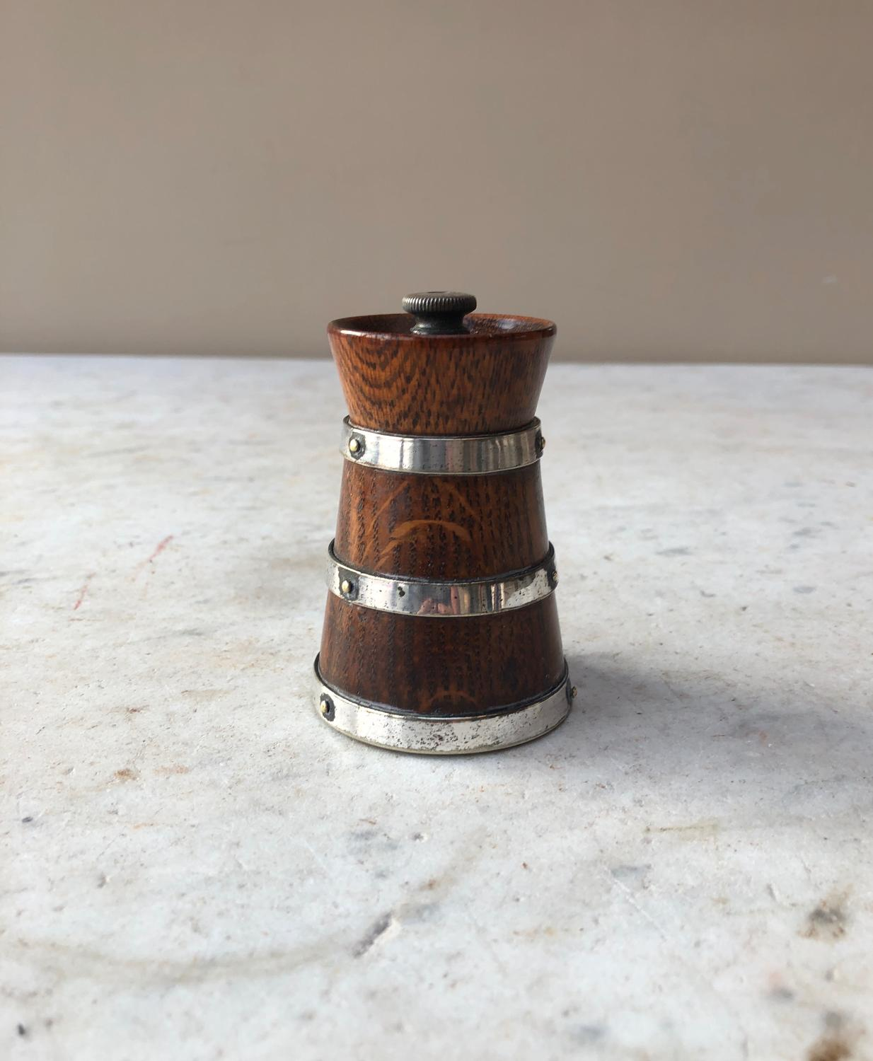 Early 20th Century Oak Pepper Grinder with Silver Plated Bands
