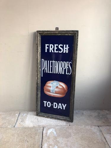 Antique Palethorpe's Sausages Enamel Sign in Original Rare Pine Frame