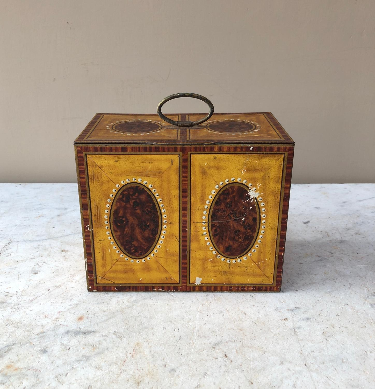 Antique William Crawford Biscuit Tin - Tea Caddy