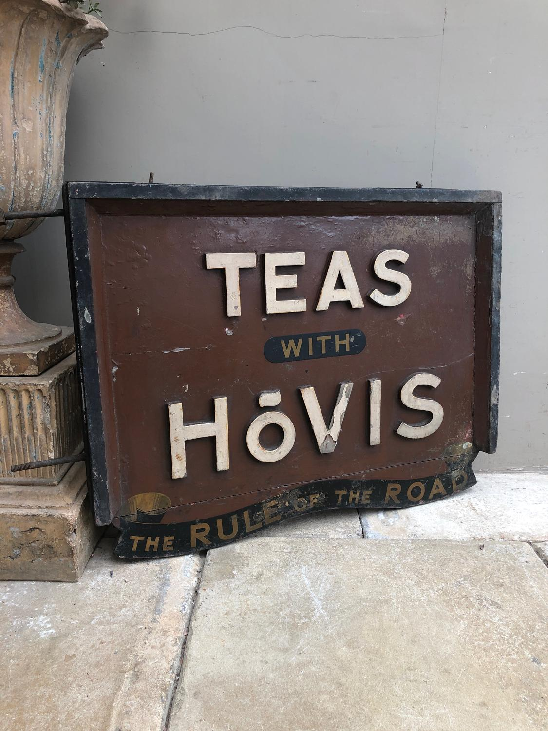 1920s Pine Advertising Sign - Teas With Hovis The Rule Of The Road