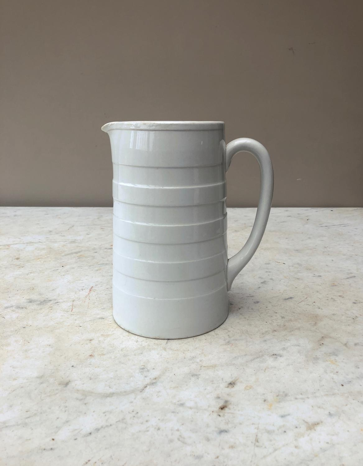 Edwardian White Banded Dairy Milk Cream Jug