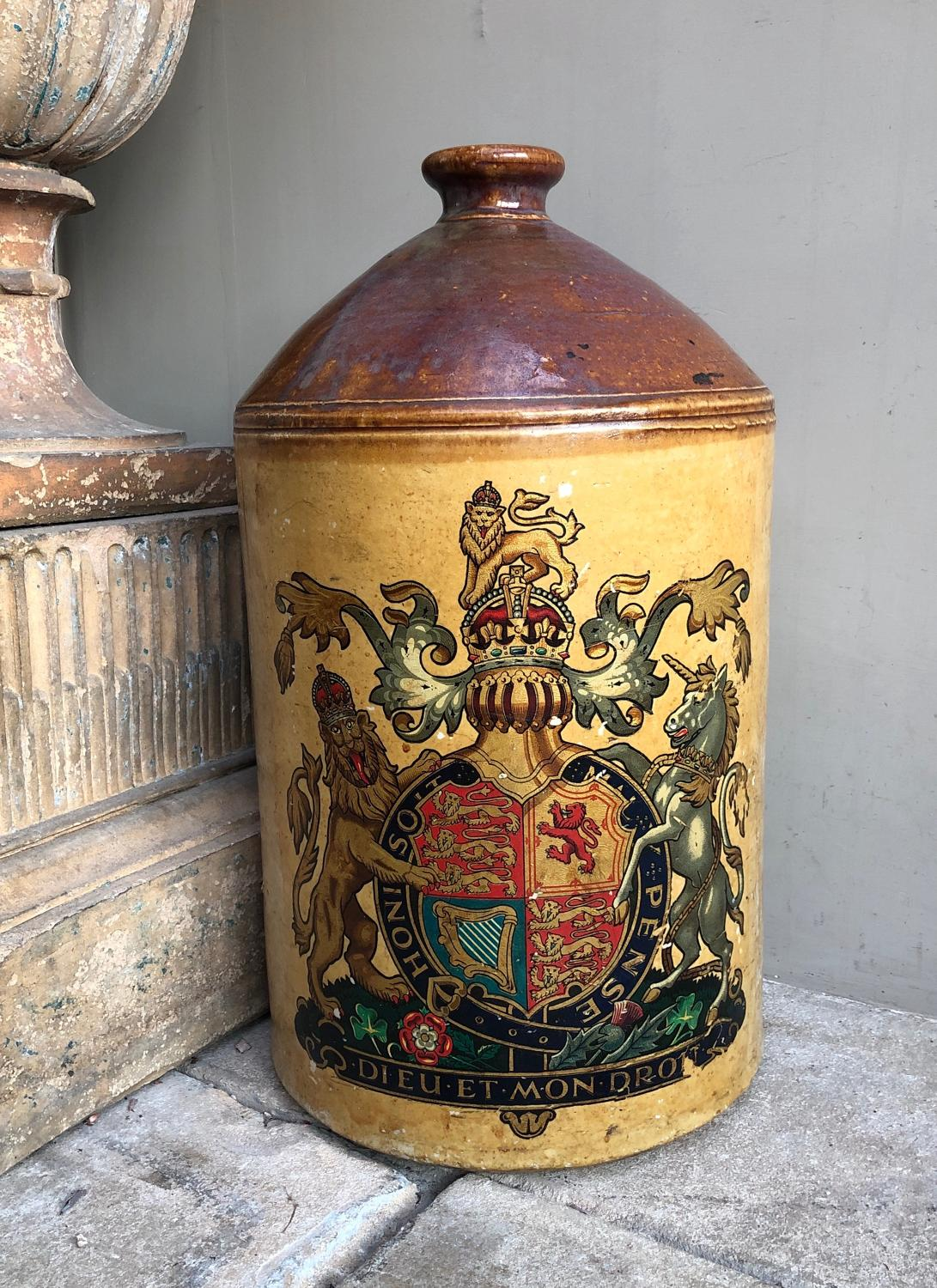 Huge Victorian Stoneware Flagon with Royal Crest