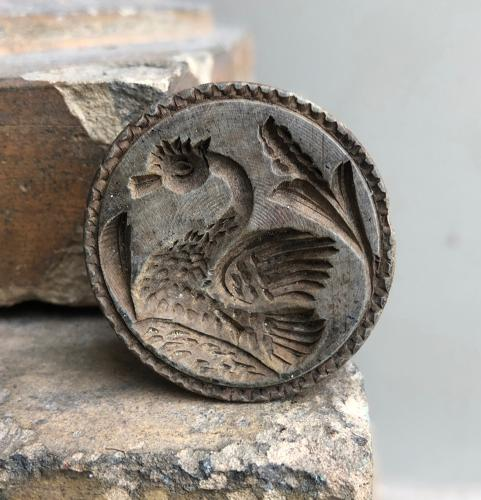 Rare Victorian Carved Treen Butter Stamp - Great Crested Grebe Bird