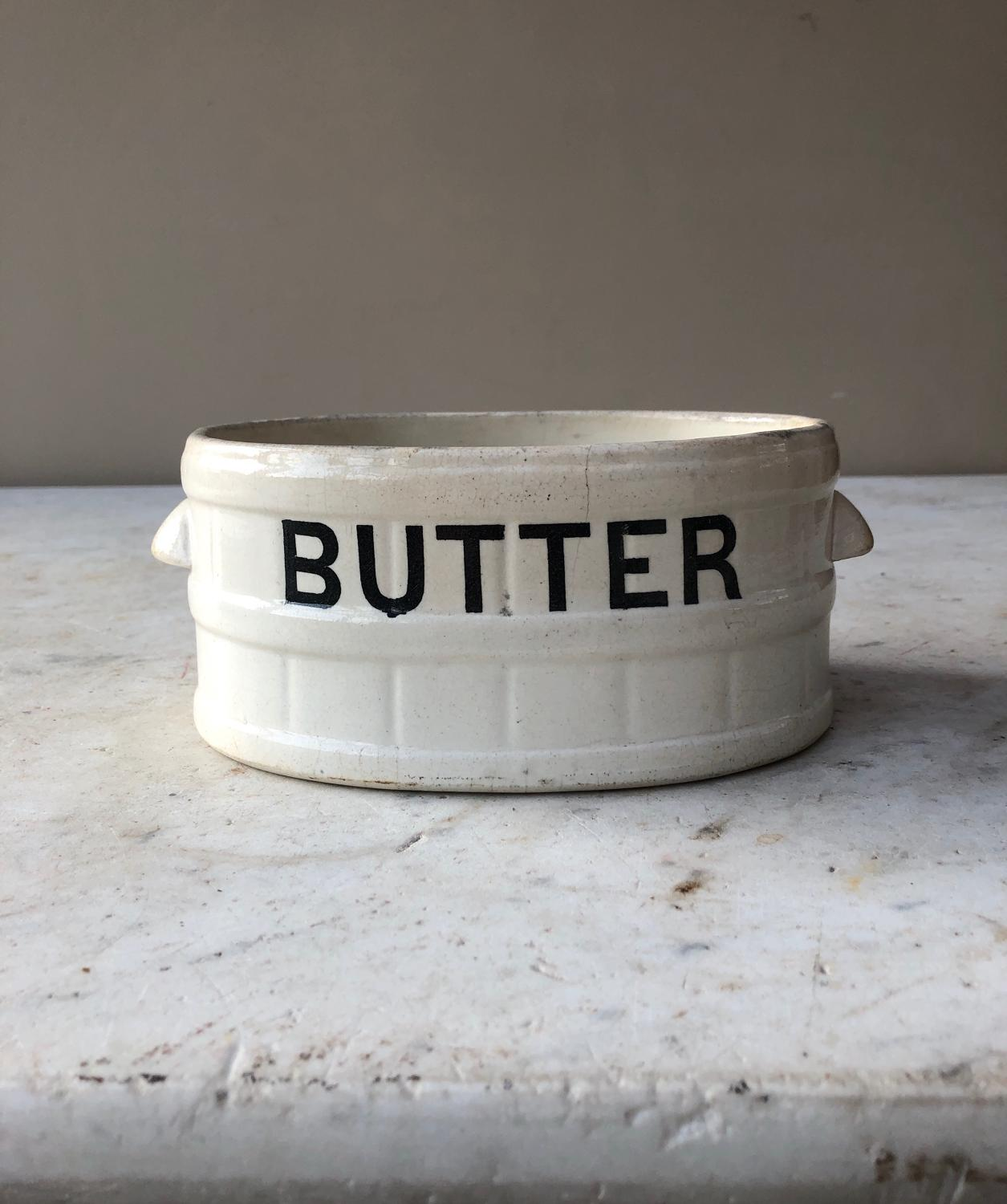 Late Victorian White Banded Butter Tub