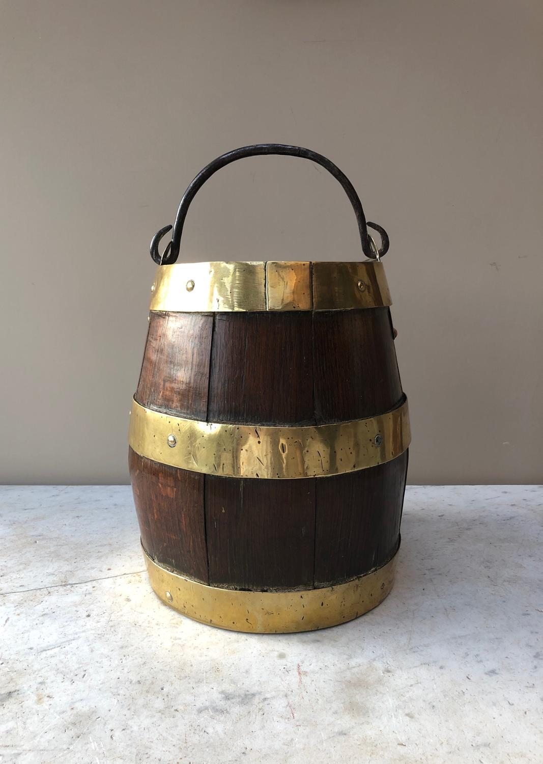 Early Victorian Brass Banded Coopered Oak Barrel Bucket