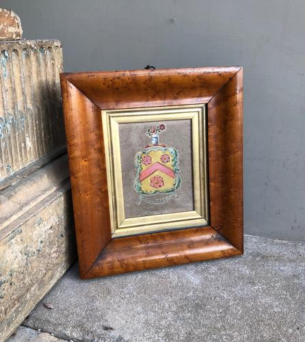 Victorian Hand Painted Armorial Crest in Thick Maple Frame
