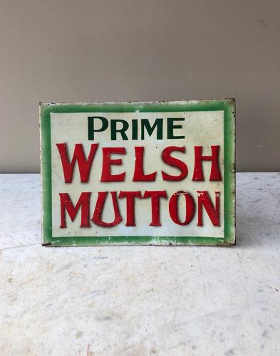 Early 20th Century Large Tin Butchers Sign - Prime Welsh Mutton