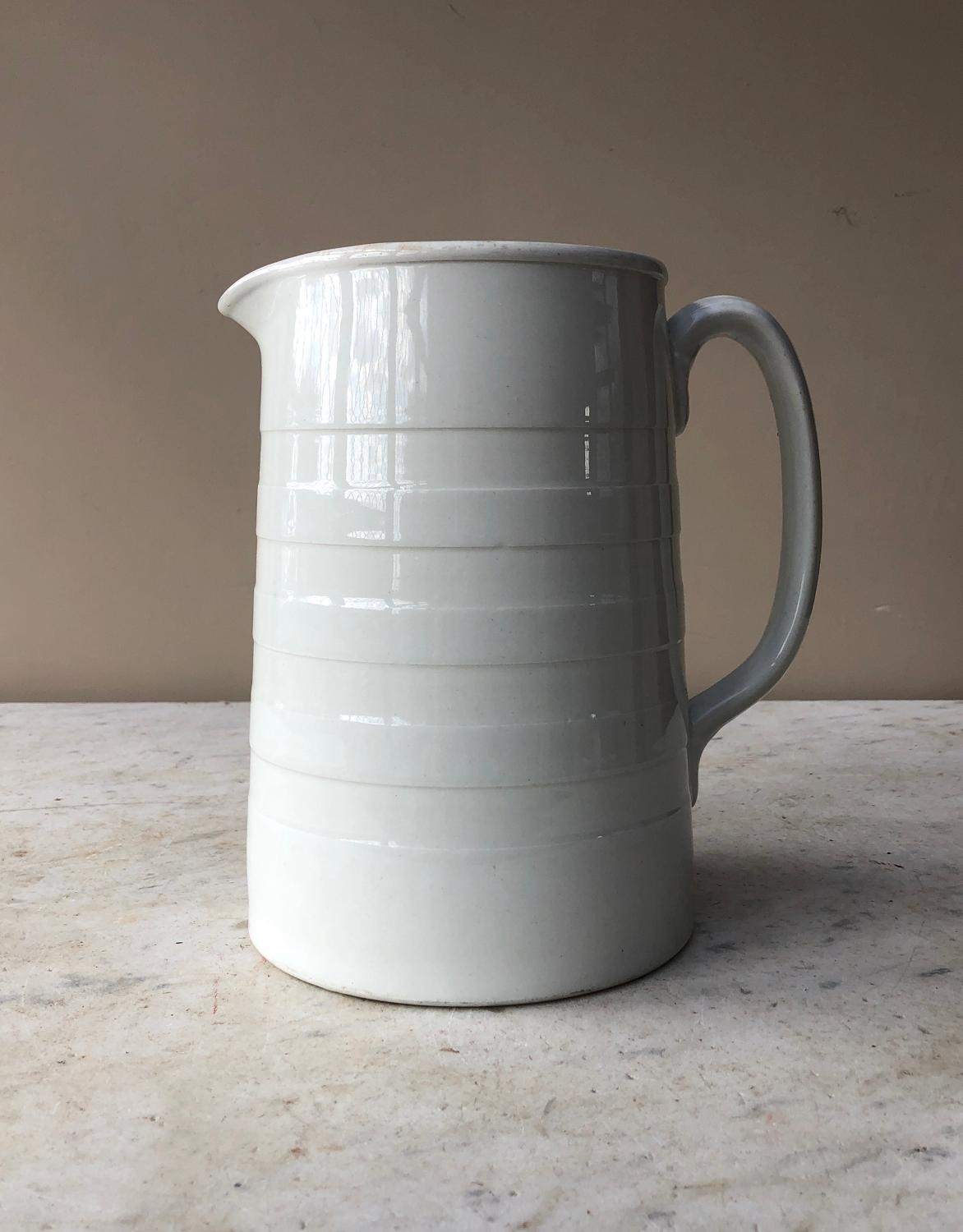 Edwardian White Banded Dairy Milk Cream Jug - 5 Pints