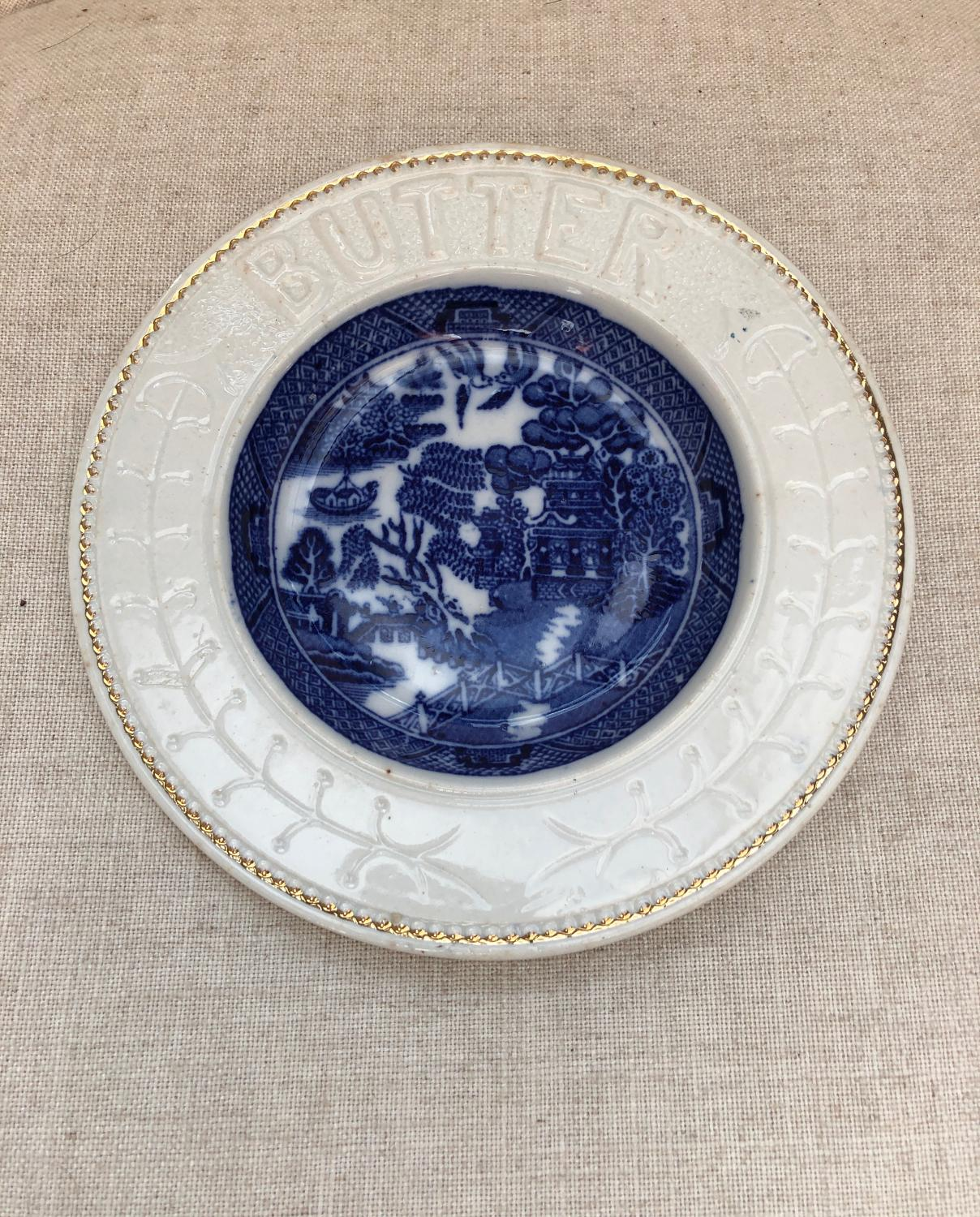 Edwardian Butter Dish. Willow Pattern Centre with White Surround.