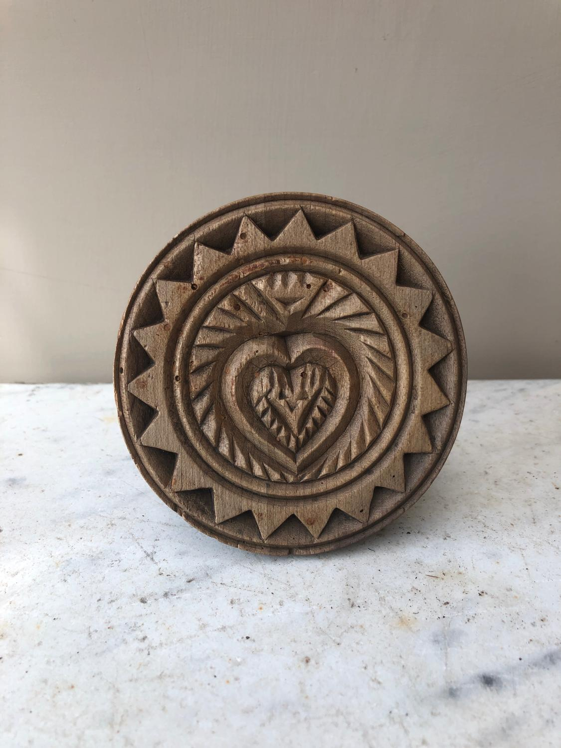 Victorian Treen Carved Heart Butter Stamp