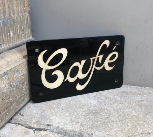 1940s Black Glass Sign - Cafe