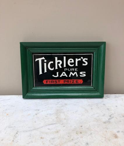 Early 20thC Reverse Painted Glass Advertising Sign - Ticklers Jam