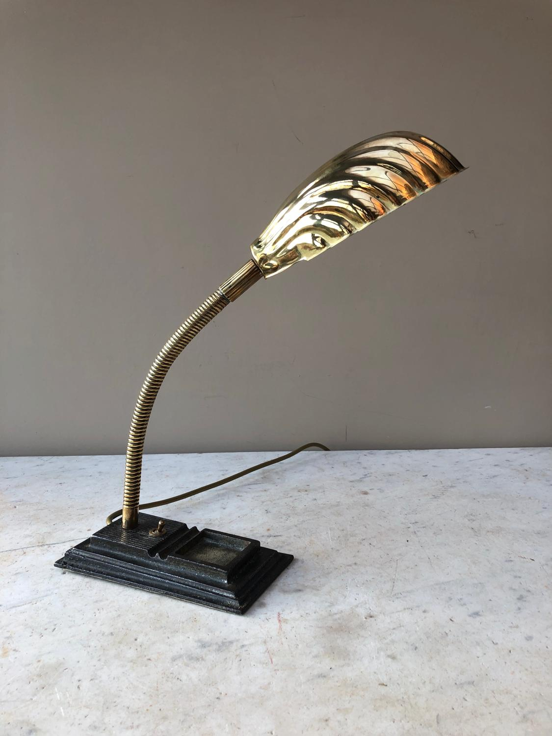 1920s Articulated Scallop Shell Desk Lamp - Fully Working